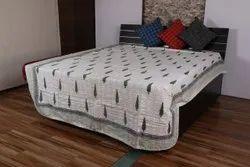 Flower Printed Kantha Bedcover Bedspread