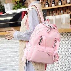 Pink Cotton Women Bagpack