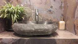 Marble Pedestal Natural stone wash basin, For Hotel