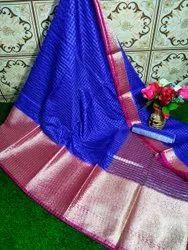 Banarasi Mahapar Check Silk Sarees