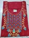 Embroidery Red Mirror Work Nighty