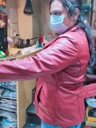 Full Sleeve Plain Brown Leather Ladies Jacket