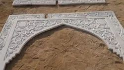 White Carved Marble mehrab, Smooth
