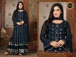 KNS Georgette Blue Ethnic Sharara Suit