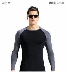 Lycra Plain Black Mens Full Sleeve Gym T Shirt