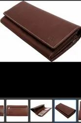 Brown Regular Ladies Leather Clutches, For Daily Use