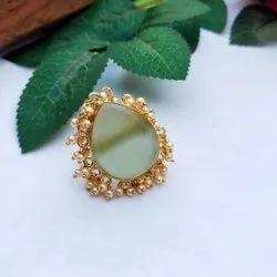 Brass Druzy Fashion Ring, 10 Gram