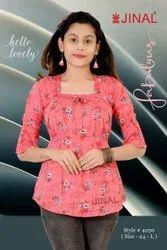 Half Sleeves Girl Pink Floral Printed Rayon Top, Size: 24-L