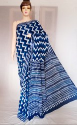 Bagru Indigo Blue Print Cotton Mulmul Saree