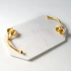 Marble Serving Tray With Golden Handles, For Restaurant, Shape: Oval