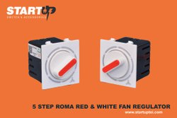 5 Step Red And White Ceiling Fan Regulator Roma