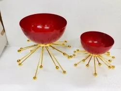 Red Stainless Steel Decorative Metal Bowl, For Home