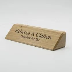 Wooden desk name plate