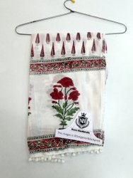 Red Flower Printed Cotton Women Stole Scarf