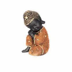 Smooth & Textured golden&black Sleeping Buddha Zen Monk Tiny Statue