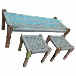 Wooden Sheesham Charpai Restaurant Hotel Furniture Dining Table And Chairs Furniture Mumbai
