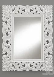 White Carved Mirror frame, Size/Dimension: 25x19 Outer Size