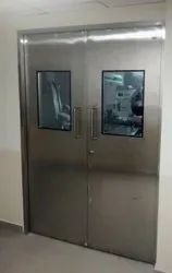 Silver Stainless Steel Double Doors, For Hospital