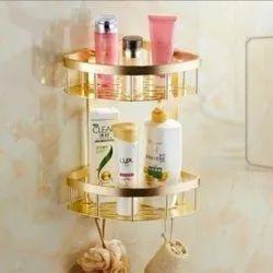 Self Adhesive Bathroom Shelf With Hooks (No Drill) Durable Aluminium 2 Tiers (Golden)