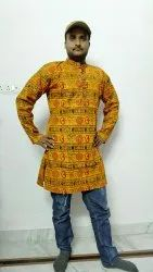 Cotton Casual Om Printed Kurta, Band Collar