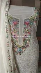 Lucknowi Chikan straight suit with Parsi Gara work