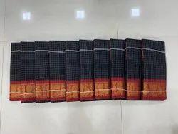 Pure Cotton Party Wear Check Printed Sungudi Saree, With Blouse, 6.3 m
