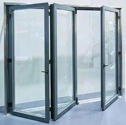 Powder Coated Aluminium Glass Door, Thickness: 6 Mm