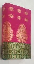 Printed Border TRT 6 M Pink Ekrailik Sholder Saree, Handwash, With blouse piece