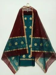 Unstitched Chanderi Traditional Suits 3 Pcs, Dry Clean