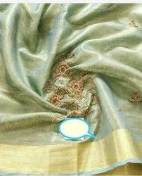 Hand Work Moti Work Tissue Linen Sarees
