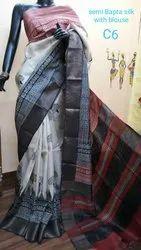 Semi Bafta Tussar Silk Block Printed Sarees