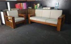 Brown Rectangular Wooden Sofa Set, For Home