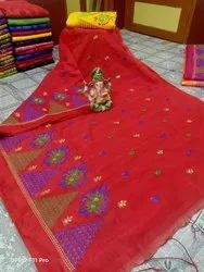Handloom Temple Embroidery Work Sarees