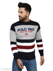 White,Black Gray Men Kvetoo Navy Round Neck Sweater Single
