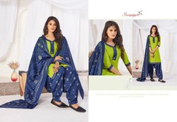 Multicolor Suryajyoti Women Cotton Patiyala Readymade Dress Suit
