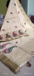 Katan Silk Floral Embroidery Work Sarees