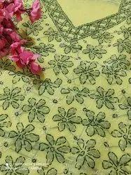 p c Lucknowi Chikankari Unstitched Cotton Dress