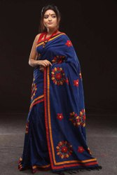 Handloom with applique  cotton saree