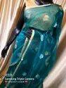 Linen Silk Saree With Thread Embroidered Work With Zari Border