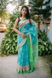 Digital Printed Linen Cotton Sarees