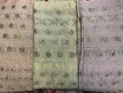 Embroidered 44 Inches Georgette Designer Fabric