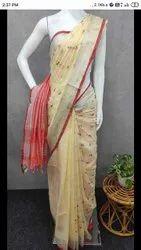 Cream Casual Wear Cotton slub embodery designer saree, With Blouse Piece