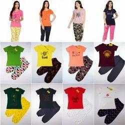 Ladies printed 3 /4 pyjama set