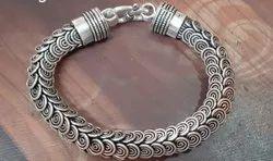 925 Men Silver Bracelets, 90 Gram, Size: 7.6 Inch