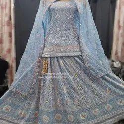 Heavy Bridal Lehenga With Chikan Embroidery And Mukaish Work