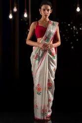 Tissue Linen Embroidery Saree