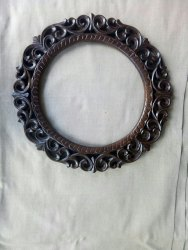 Brown Carved Round Mirror Frame, Size/Dimension: 17x17