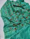 Silk Linen Embroidery Work Sarees