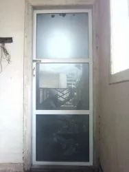 Powder Coated 7 Feet Aluminium Door, Hinged, Thickness: 5mm Frosted Glass