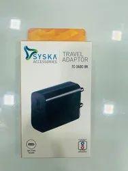 Black Syska Travel Mobile Adapters